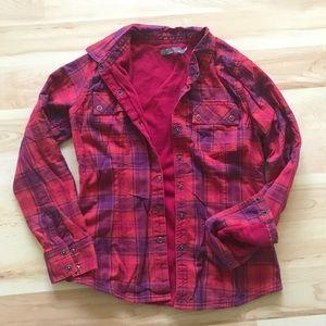 Prana plaid snap shirt with thermal lining. Sz XS